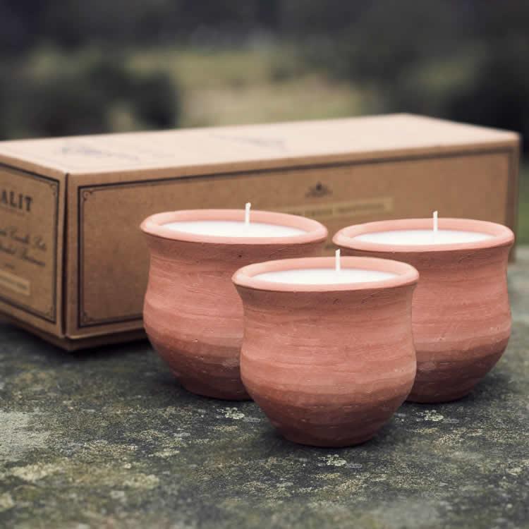 Dalit Handmade Pavani Beeswax Candle - Lavender - Set of 3
