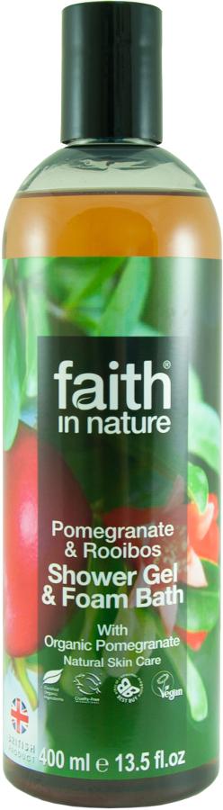 Faith In Nature Pomegranate & Rooibos Shower Gel & Foam Bath 400ml