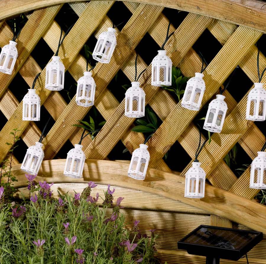 solar powered moroccan lantern string lights 16 leds smart garden. Black Bedroom Furniture Sets. Home Design Ideas