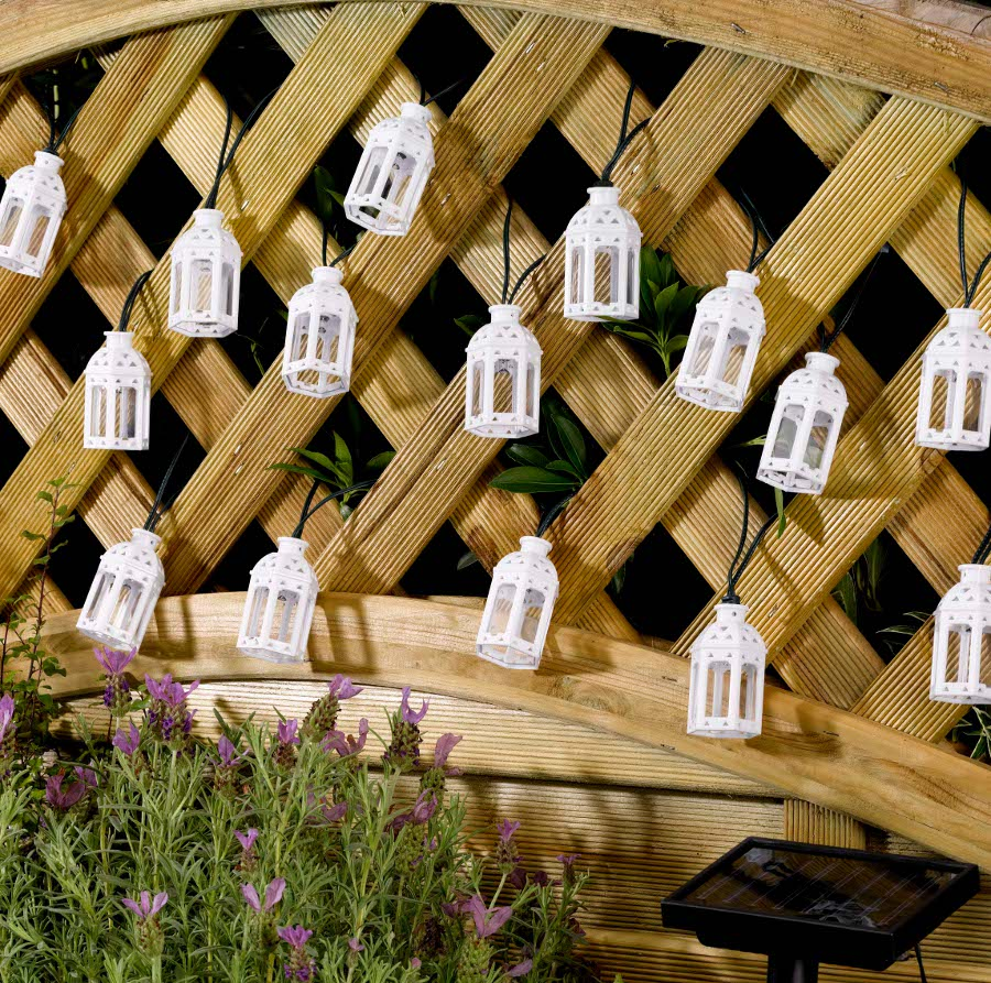 Solar Powered Moroccan Lantern String Lights 16 LEDs - Smart Garden