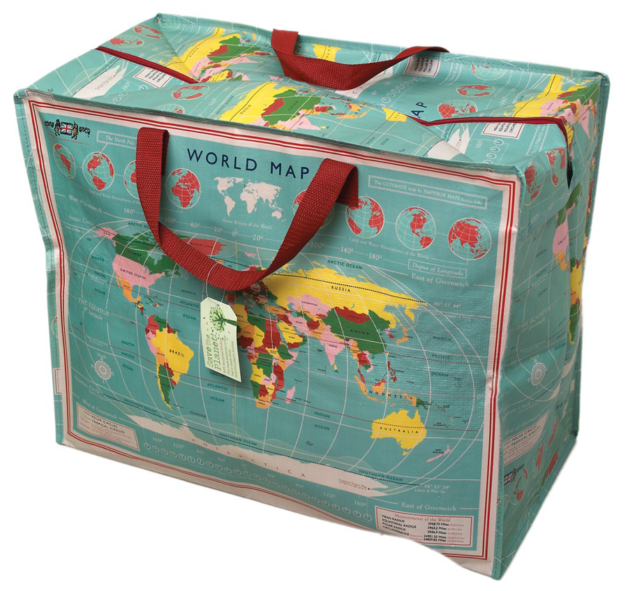 Recycled Jumbo Bag World Map