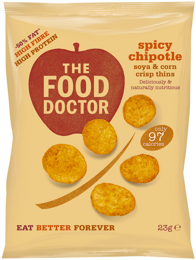 The Food Doctor Spicy Chipotle Corn & Soy Crisp Thins - 23g