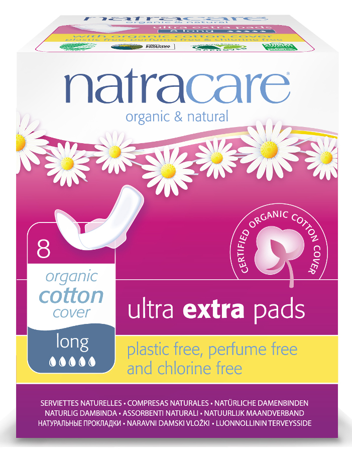Natracare Organic and Natural Ultra Extra Pads - Long with Wings - Pack Of 8