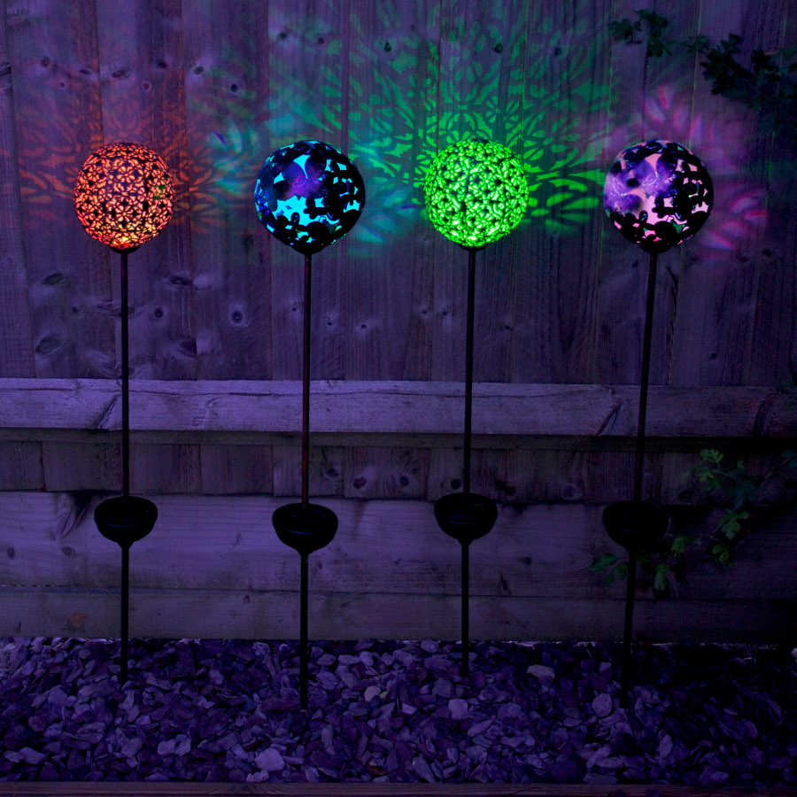 Solar Powered Large Bronze Effect Butterfly Globe Stake