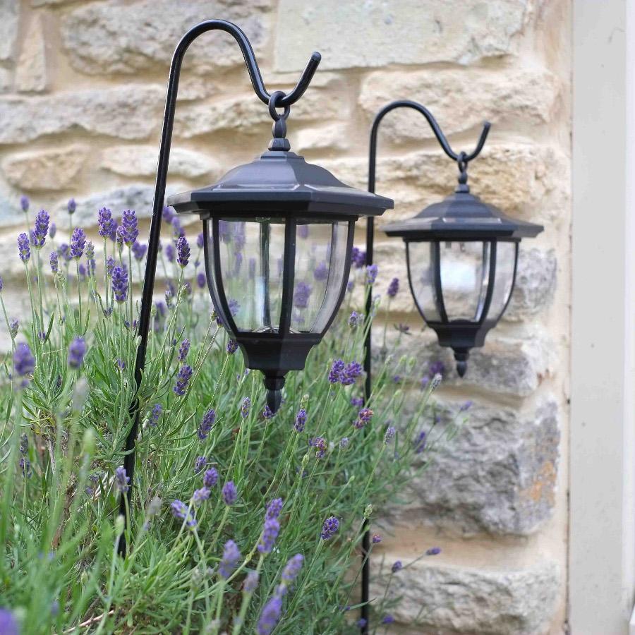 solar powered shepherds crook coach lanterns pack of 2 smart garden. Black Bedroom Furniture Sets. Home Design Ideas