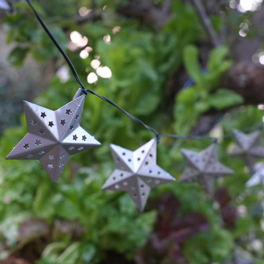 Metal Star String Lights : Solar Powered Metal Star String Lights - 10 - Smart Garden