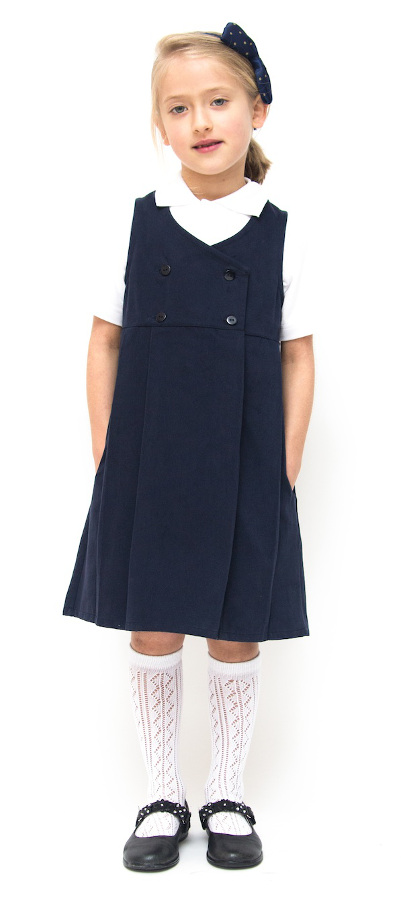 Girls Double Breasted Classic School Pinafore - Navy Blue - Junior