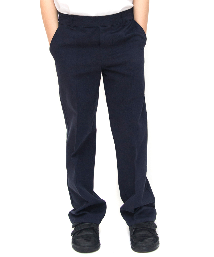 Boys Classic Fit School Trousers With Adjustable Waist - Navy - Infant