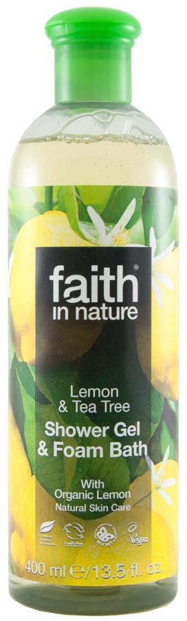 Faith in Nature Shower Gel & Bath Foam - Lemon & Tea Tree - 400ml.