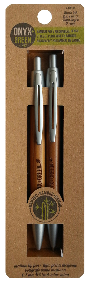 Image of Bamboo Pen & Mechanical Pencil Set - Black Ink/0.7mm Lead