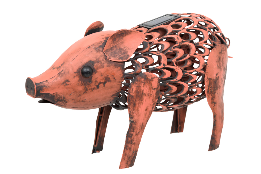 Solar Powered Metal Silhouette Pig Light Smart Garden