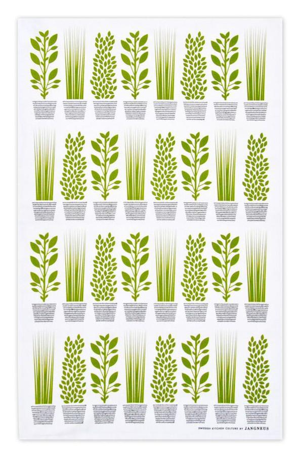 Image of Jangneus Design Herbs Tea Towel - Green