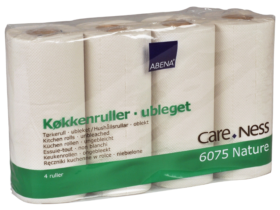 Image of Abena 100% Recycled Single Embossed 2-Ply Kitchen Roll - Pack Of 4