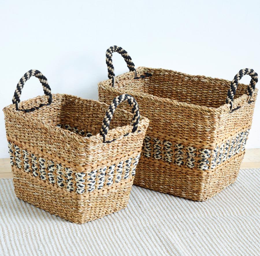 Image of Black & Natural Storage Baskets - Set of 2