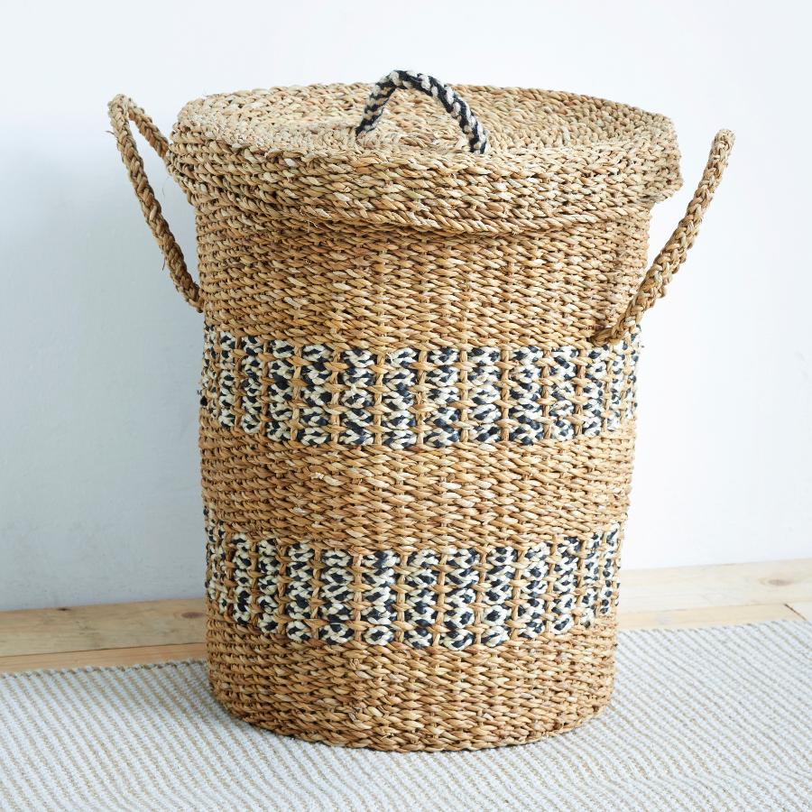 Image of Black & Natural Laundry Basket