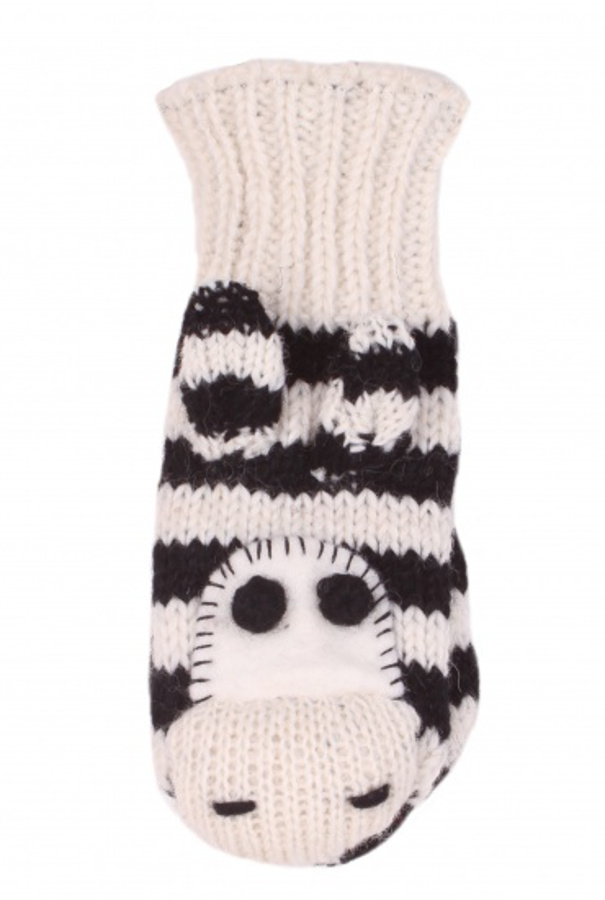 Kids Fair Trade Zebra Mittens  One Size