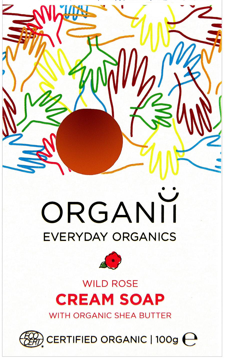 Organii Organic Cream Soap Bar  Wild Rose  100g