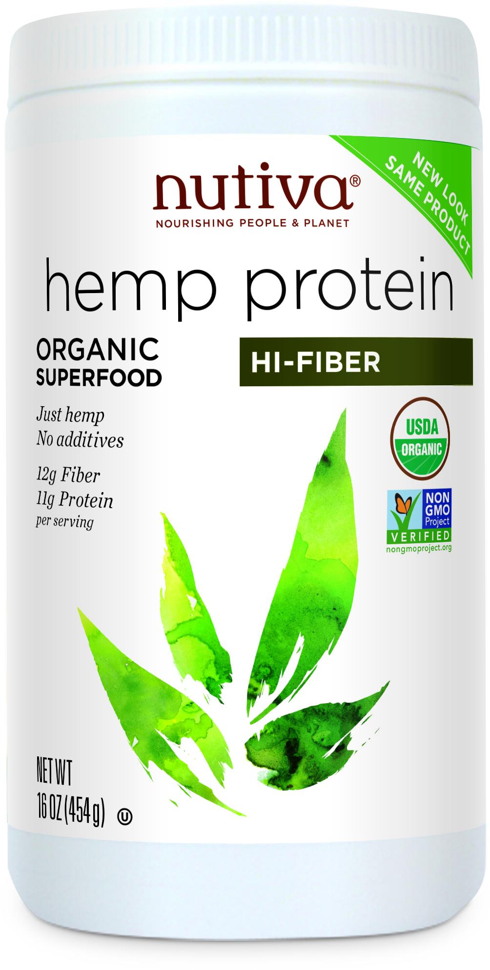 Nutiva Hemp Protein Powder & Fibre - 454g.