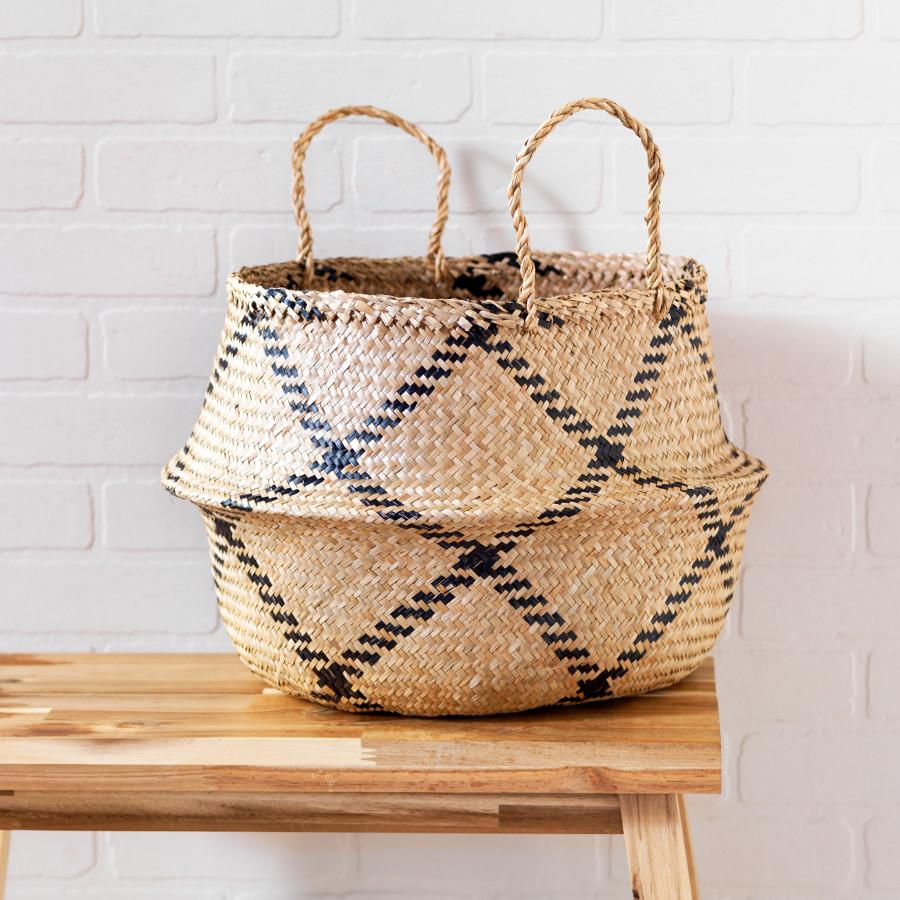 Natural & Black Rice Woven Storage Basket.