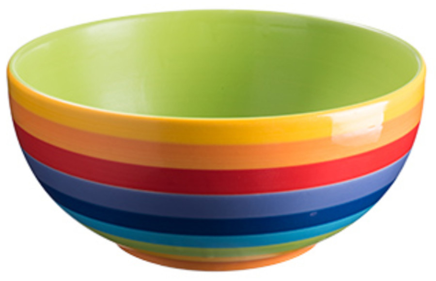 Handpainted Rainbow Stripe Ceramic Salad Bowl