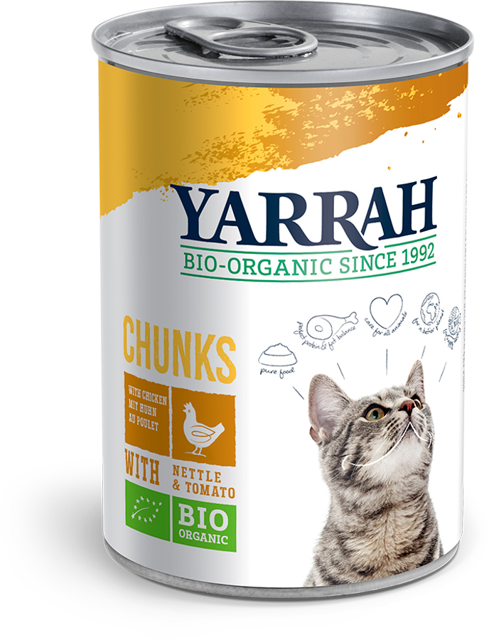 Yarrah Organic Adult Cat Food - Chicken In Nettle & Tomato Sauce 405g