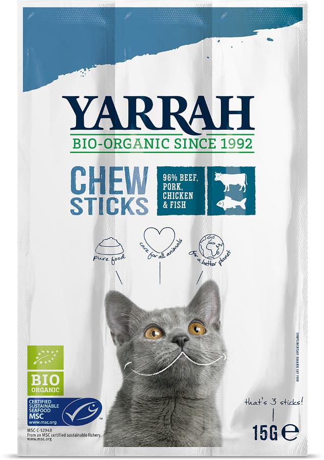 Yarrah Organic Fish Chewsticks With Seaweed & Spirulina For Cats 15g