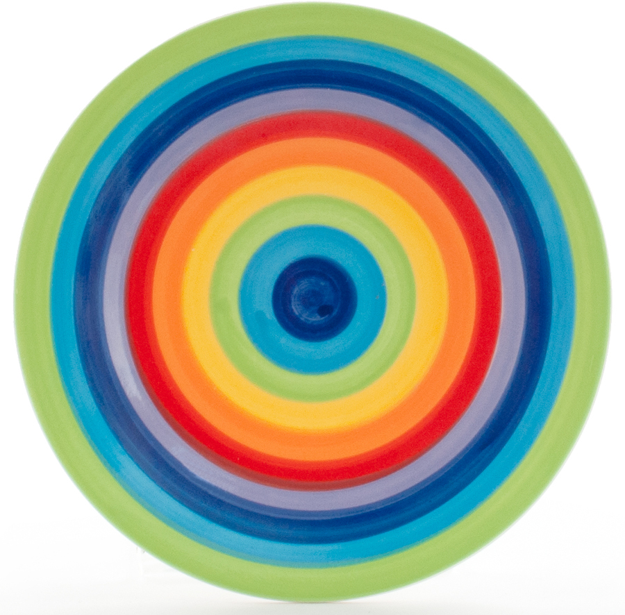 Hand Painted Rainbow Plate - 18cm.