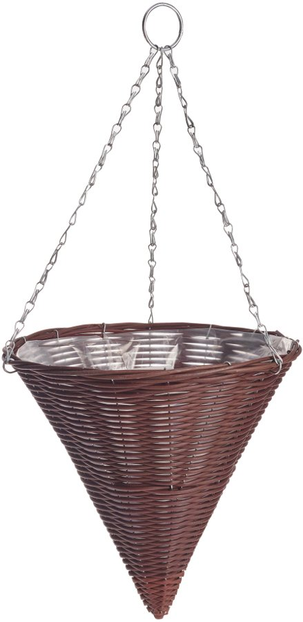 Rattan Effect Brown Hanging Cone.