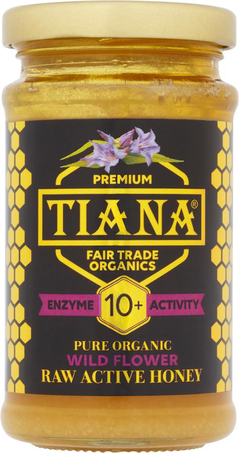 Tiana Organic Raw Active Wild Mountain Flower Honey - Enzyme Diastase 10+ - 250g.