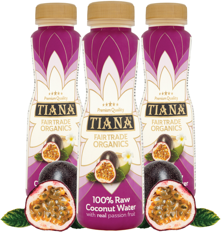 Tiana Fair Trade Raw Coconut Water with Real Passion Fruit - 350ml.