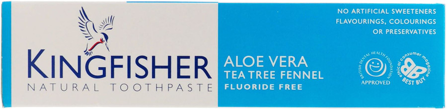 Kingfisher Toothpaste - Fluoride Free - Aloe Vera & Tea Tree Fennel - 100ml.