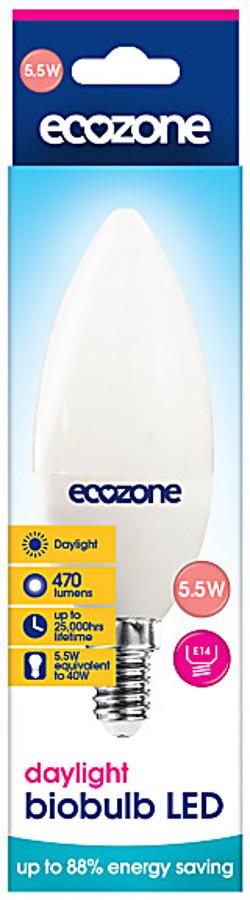 Ecozone E14A Daylight LED Biobulb - 5.5 Watt - 40 Watt Equivalent