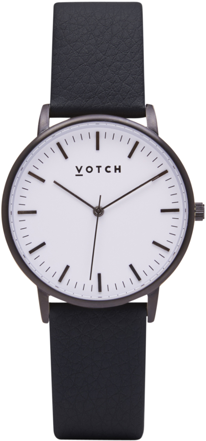 Votch New Collection Vegan Leather Watch - Black.