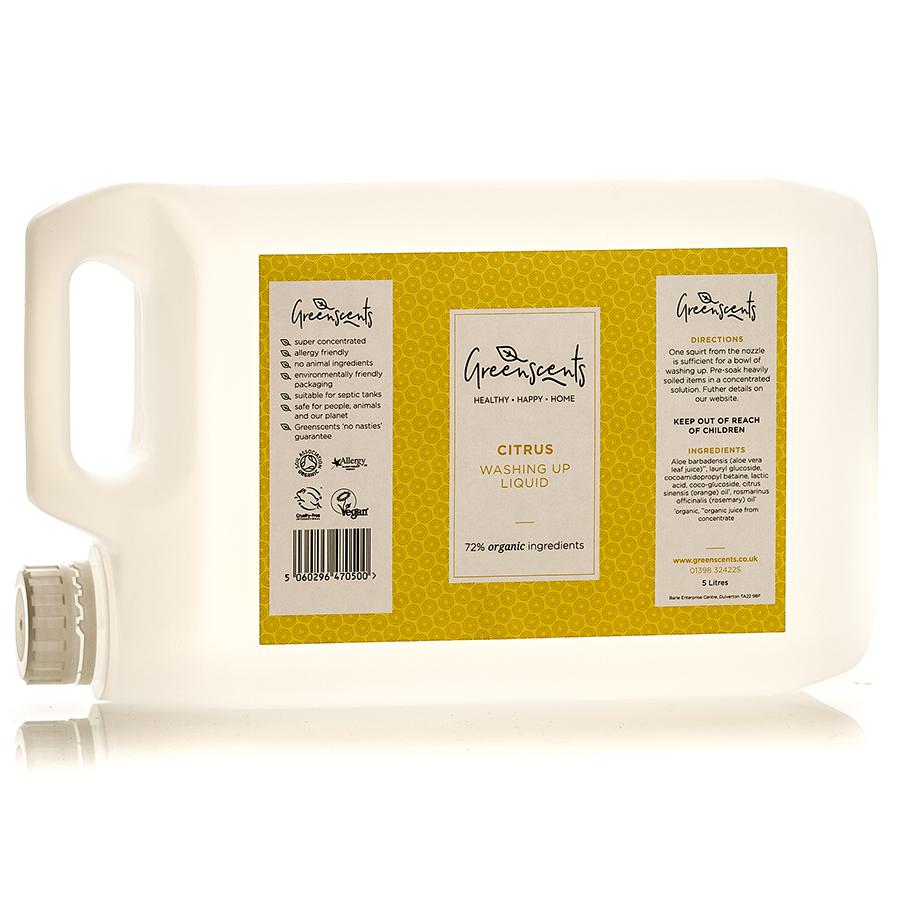 Greenscents Organic Washing Up Liquid - Citrus - 5L