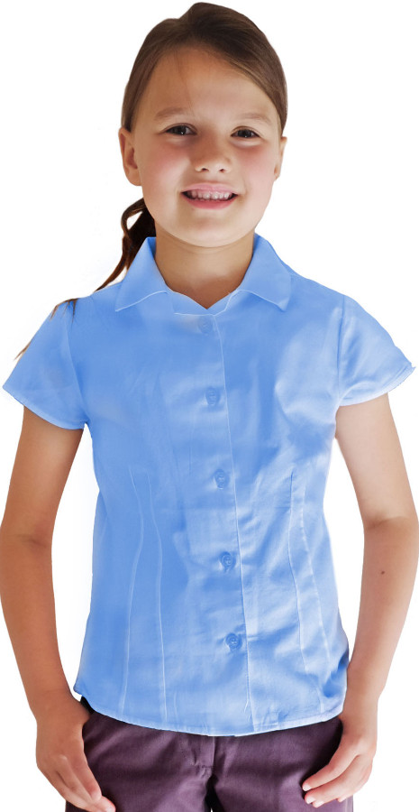 Blue Short Sleeve Blouse - 6yrs+