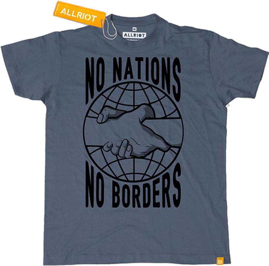 All Riot 'No Nations No Borders' T-Shirt - Denim Blue