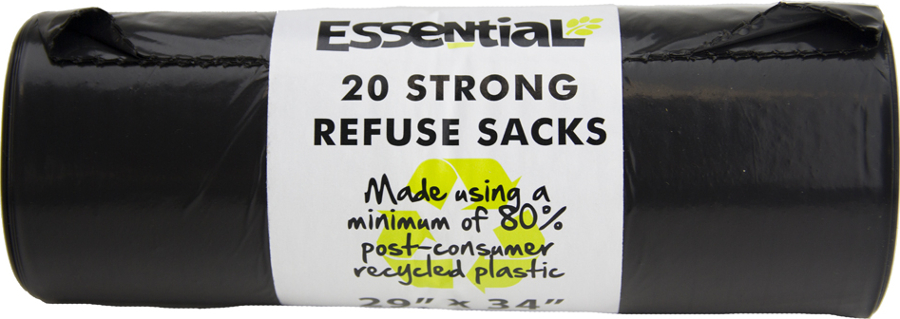 Essential Trading Recycled Refuse Sacks Roll - Pack of 20
