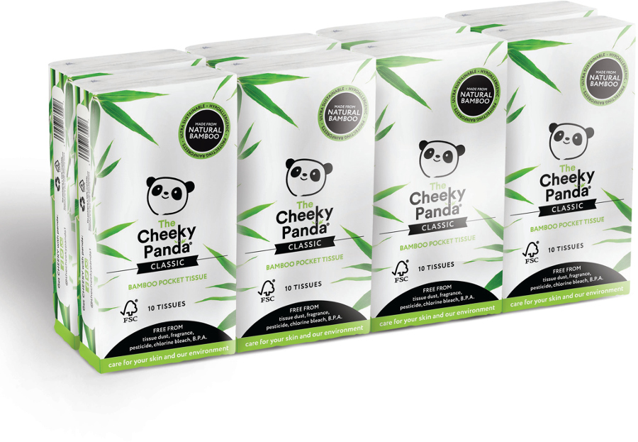 The Cheeky Panda FSC 100% Bamboo Pocket Tissue - 8 Pack