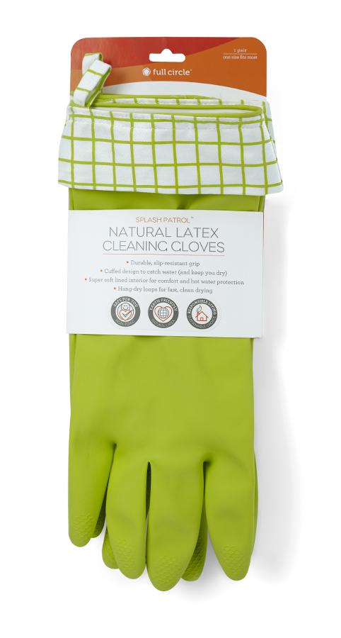 Full Circle Splash Patrol Latex Cleaning Gloves - Green/White
