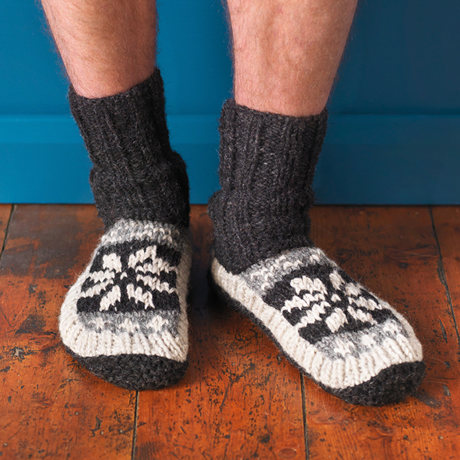 Mens Snowflake Lined Slipper Socks - Charcoal