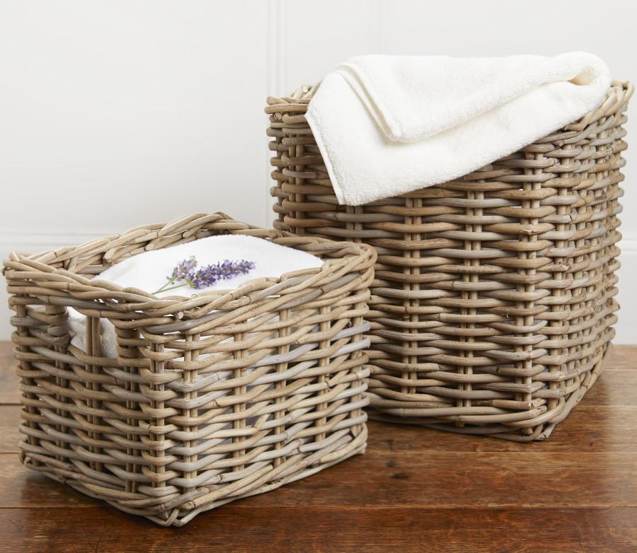 Grey Buff Rattan Square Cube Wicker Storage Basket: Grey Rattan Square Cube Baskets