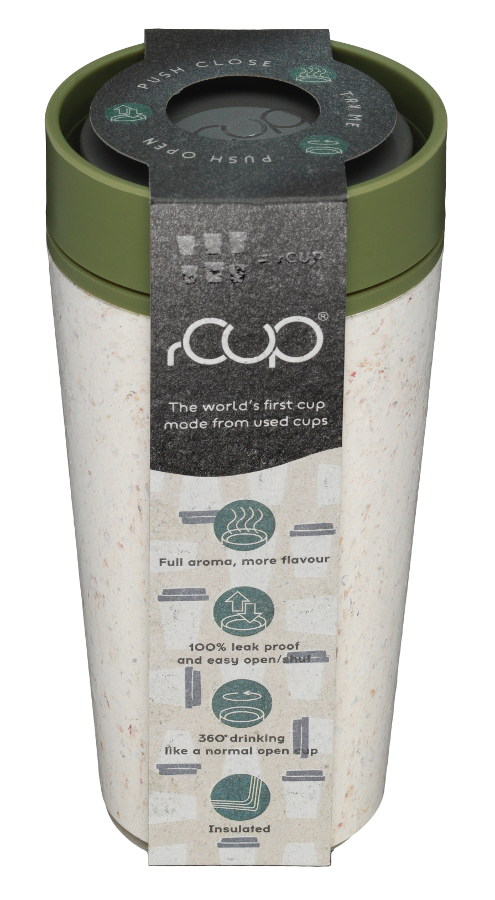 rCUP Cream & Green Reusable Coffee Cup - 340ml