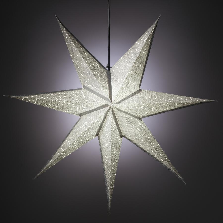 Image of 7 Point Silver Crinkle Design Star Hanging Decoration