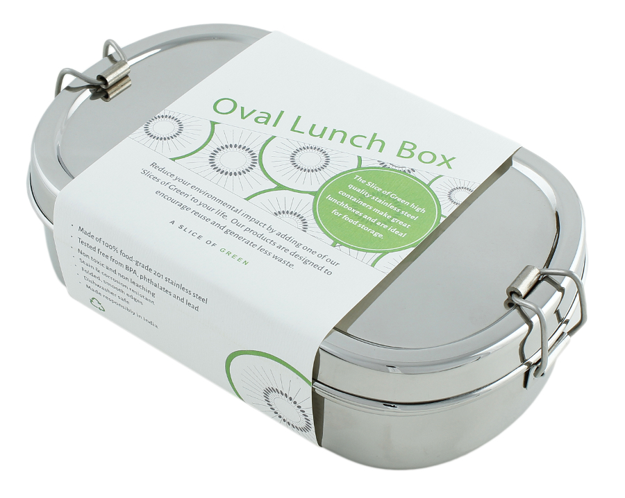 Image of A Slice of Green Stainless Steel Oval Lunch Box with Mini Container