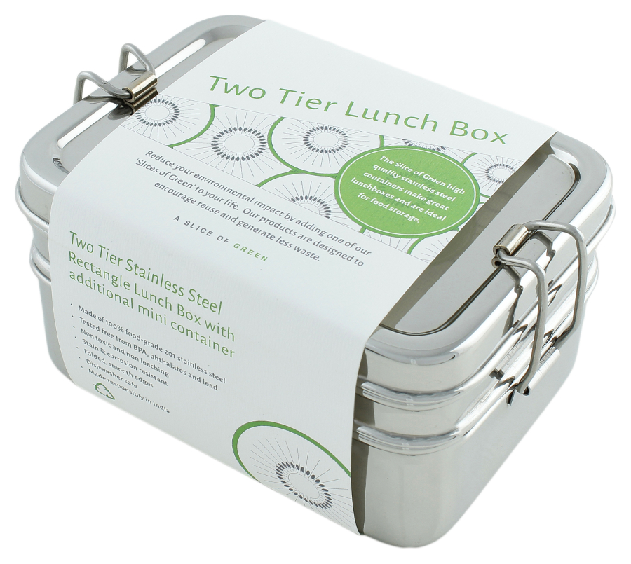 Image of A Slice of Green Stainless Steel Two Tier Lunch Box with Mini Container
