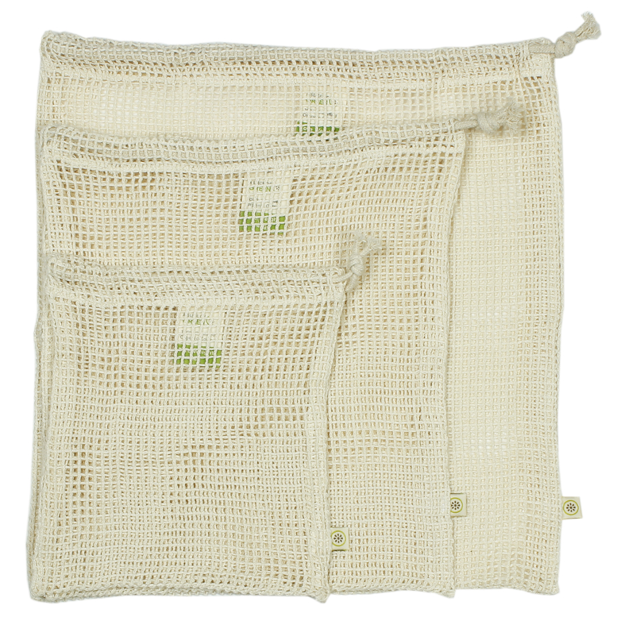 Image of A Slice of Green Organic Cotton Mesh Produce Bags - Set of 3