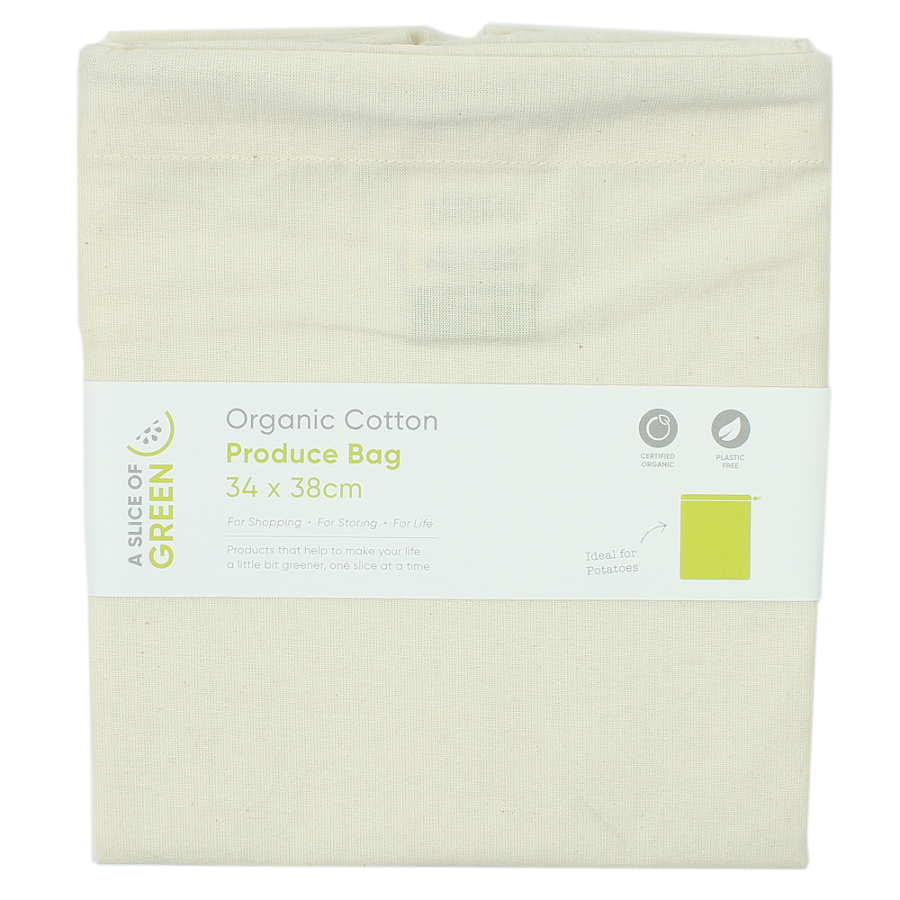 Image of A Slice of Green Organic Cotton Produce Bag - Large