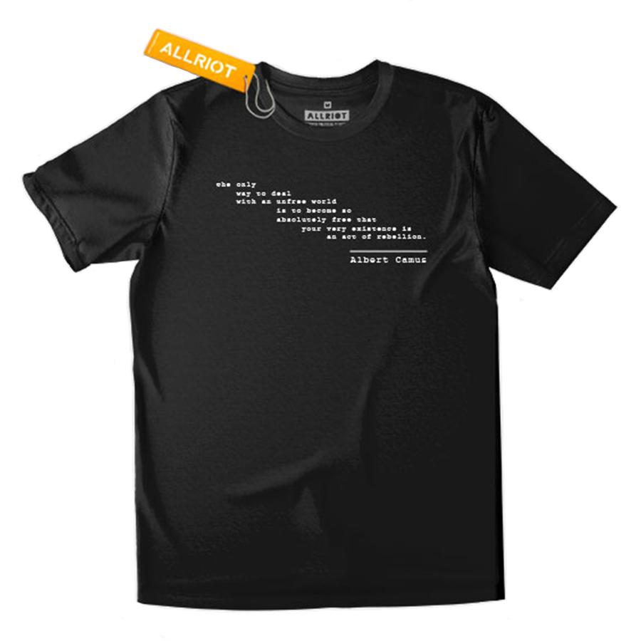 All Riot Albert Camus Rebellion Organic T-Shirt - Black