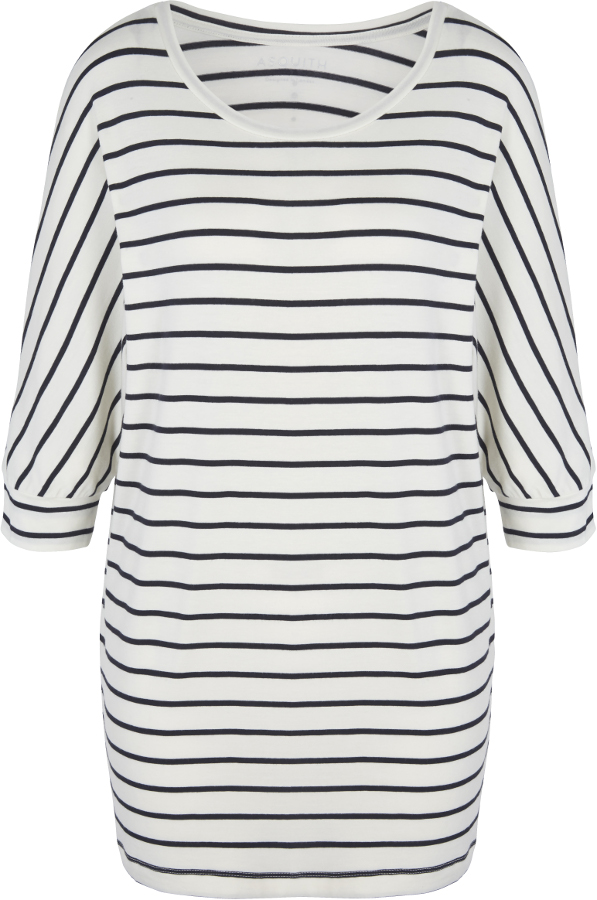 Asquith Bamboo Be Grace Batwing Top - Navy & Ivory Stripe