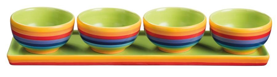 Hand Painted Rainbow Ceramic Tapas Bowls - Set of 4
